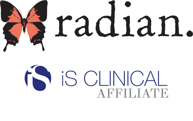 Radian Medical Spa and iS CLINICAL logos